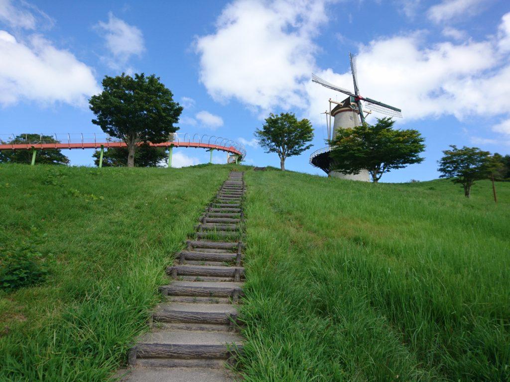 ローラー滑り台と風車